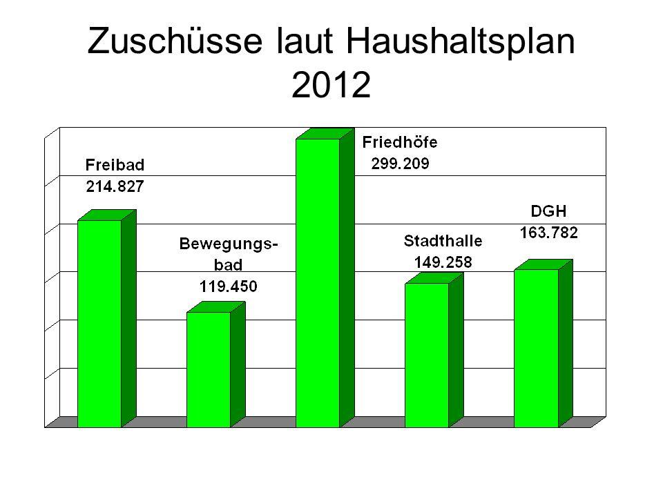 Zuschüsse laut Haushaltsplan 2012