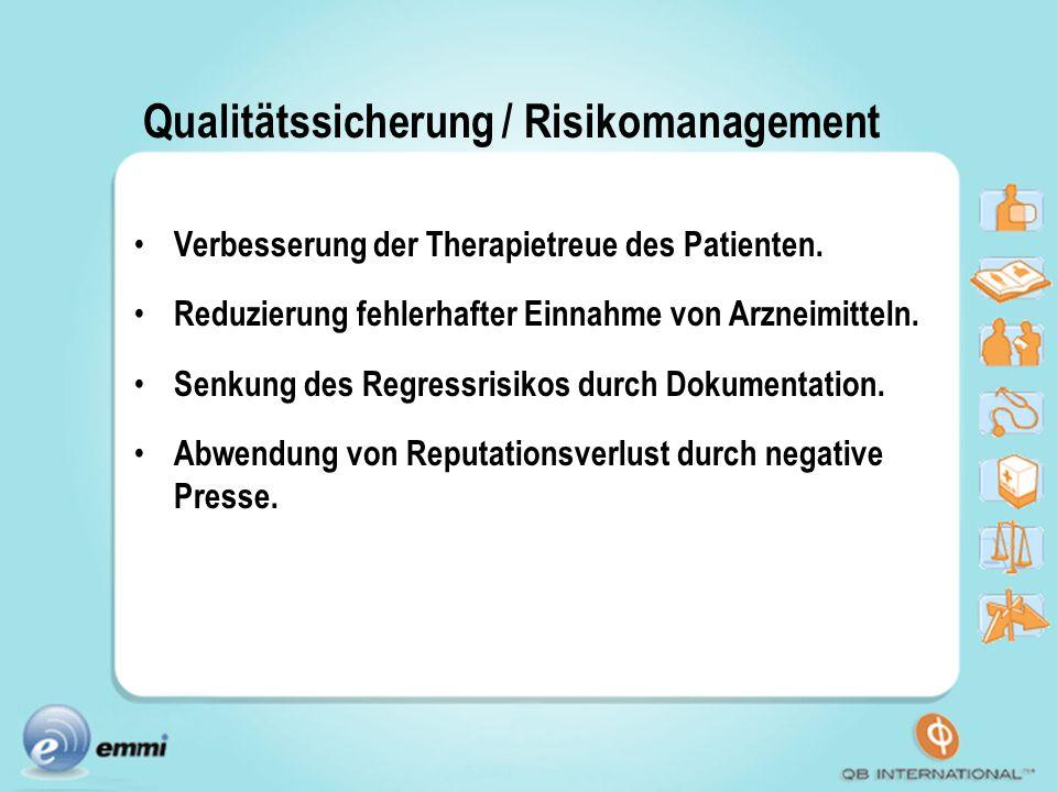 Qualitätssicherung / Risikomanagement Verbesserung der Therapietreue des Patienten. Reduzierung fehlerhafter Einnahme von Arzneimitteln. Senkung des R