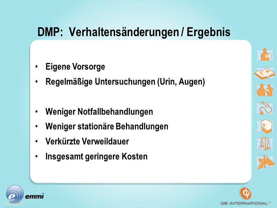 DMP: Verhaltensänderungen / Ergebnis Eigene Vorsorge Regelmäßige Untersuchungen (Urin, Augen) Weniger Notfallbehandlungen Weniger stationäre Behandlun