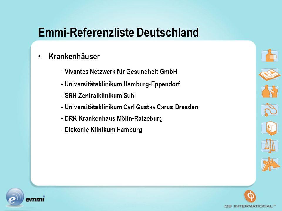 Emmi-Referenzliste Deutschland Krankenhäuser - Vivantes Netzwerk für Gesundheit GmbH - Universitätsklinikum Hamburg-Eppendorf - SRH Zentralklinikum Su