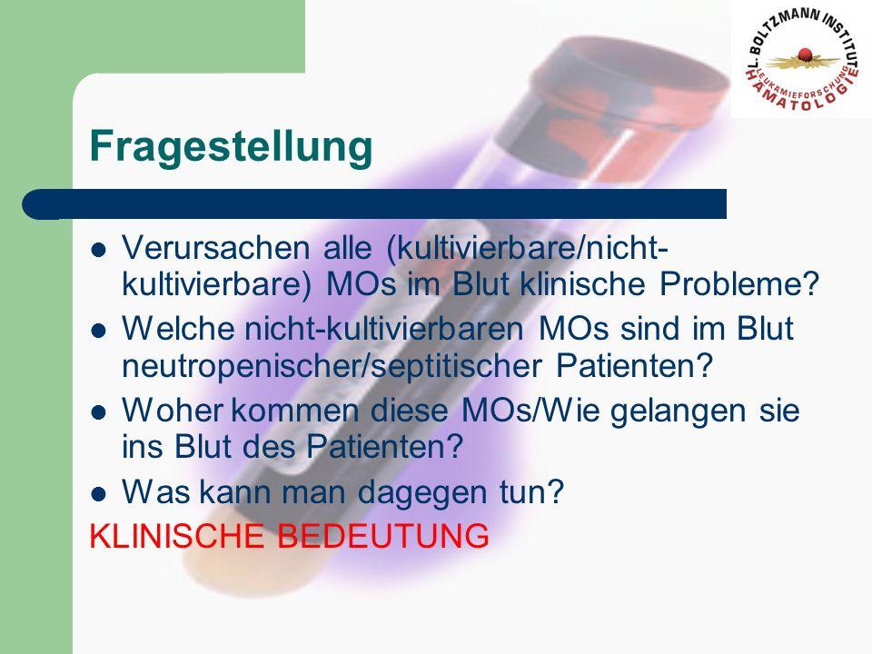 Fragestellung Verursachen alle (kultivierbare/nicht- kultivierbare) MOs im Blut klinische Probleme? Welche nicht-kultivierbaren MOs sind im Blut neutr