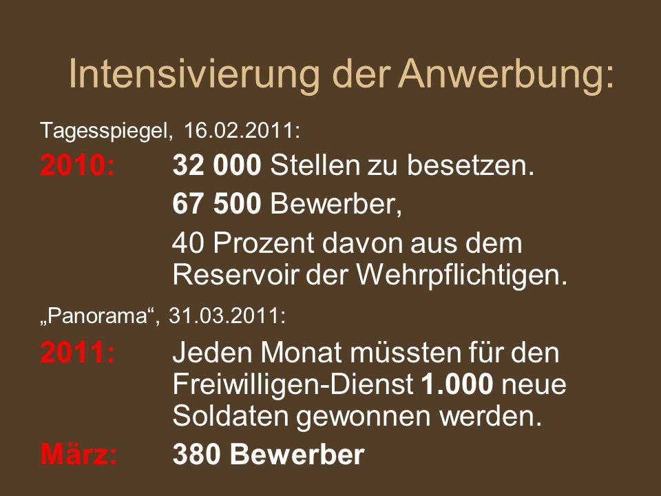 Tagesspiegel, 16.02.2011: 2010: 32 000 Stellen zu besetzen. 67 500 Bewerber, 40 Prozent davon aus dem Reservoir der Wehrpflichtigen. Panorama, 31.03.2