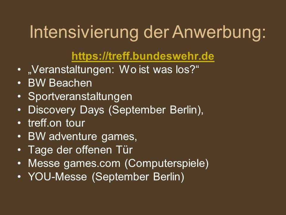 https://treff.bundeswehr.de Veranstaltungen: Wo ist was los? BW Beachen Sportveranstaltungen Discovery Days (September Berlin), treff.on tour BW adven