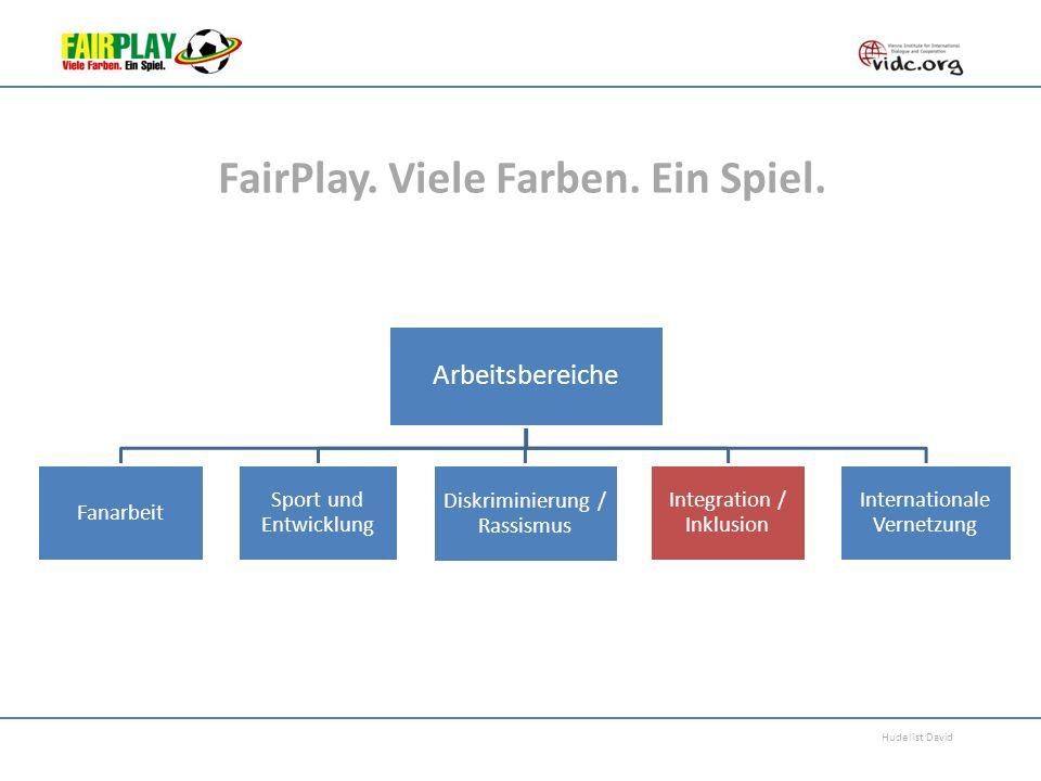 Hudelist David FairPlay. Viele Farben. Ein Spiel. Arbeitsbereiche Fanarbeit Sport und Entwicklung Diskriminierung / Rassismus Integration / Inklusion