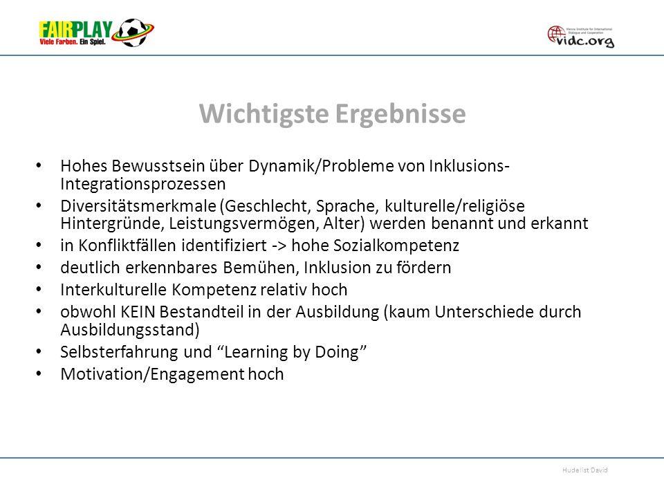 Hudelist David Wichtigste Ergebnisse Hohes Bewusstsein über Dynamik/Probleme von Inklusions- Integrationsprozessen Diversitätsmerkmale (Geschlecht, Sp
