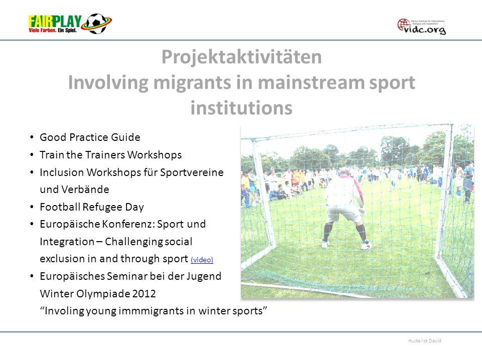 Hudelist David Projektaktivitäten Involving migrants in mainstream sport institutions Good Practice Guide Train the Trainers Workshops Inclusion Works