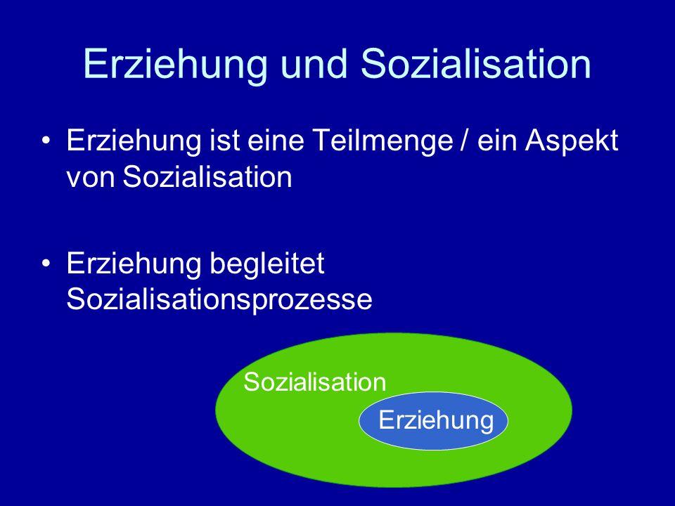 Erziehung und Sozialisation Erziehung ist eine Teilmenge / ein Aspekt von Sozialisation Erziehung begleitet Sozialisationsprozesse Sozialisation Erzie