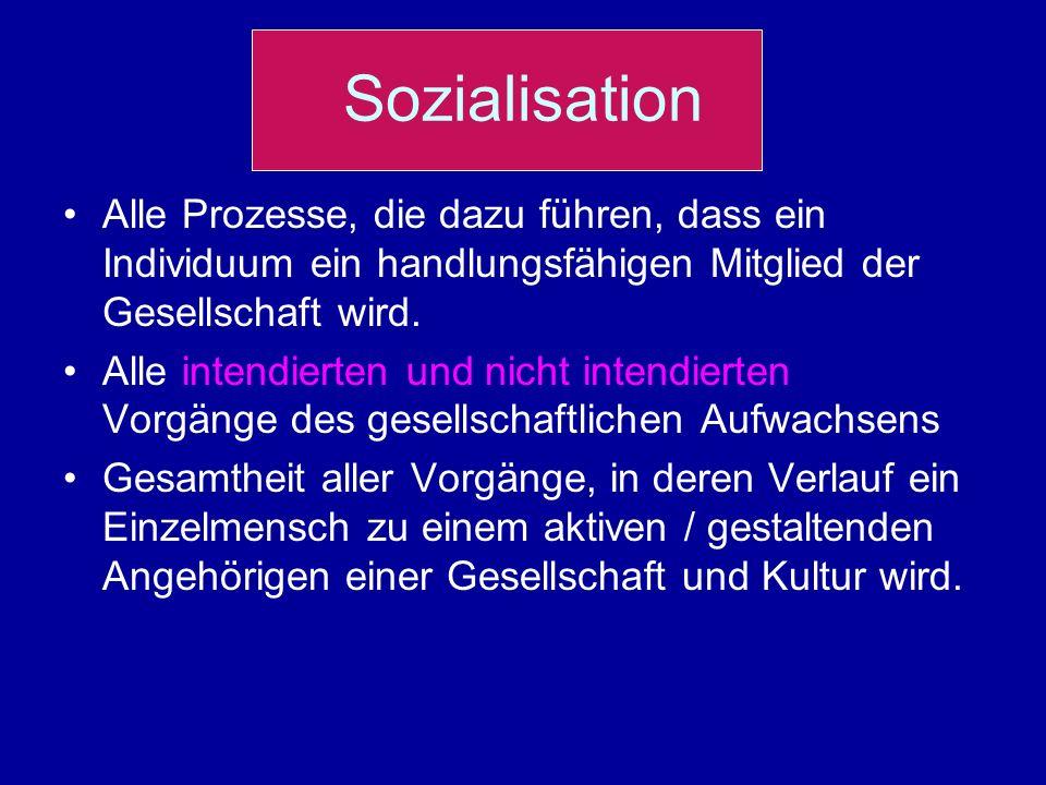 Sozialisation Alle Prozesse, die dazu führen, dass ein Individuum ein handlungsfähigen Mitglied der Gesellschaft wird. Alle intendierten und nicht int