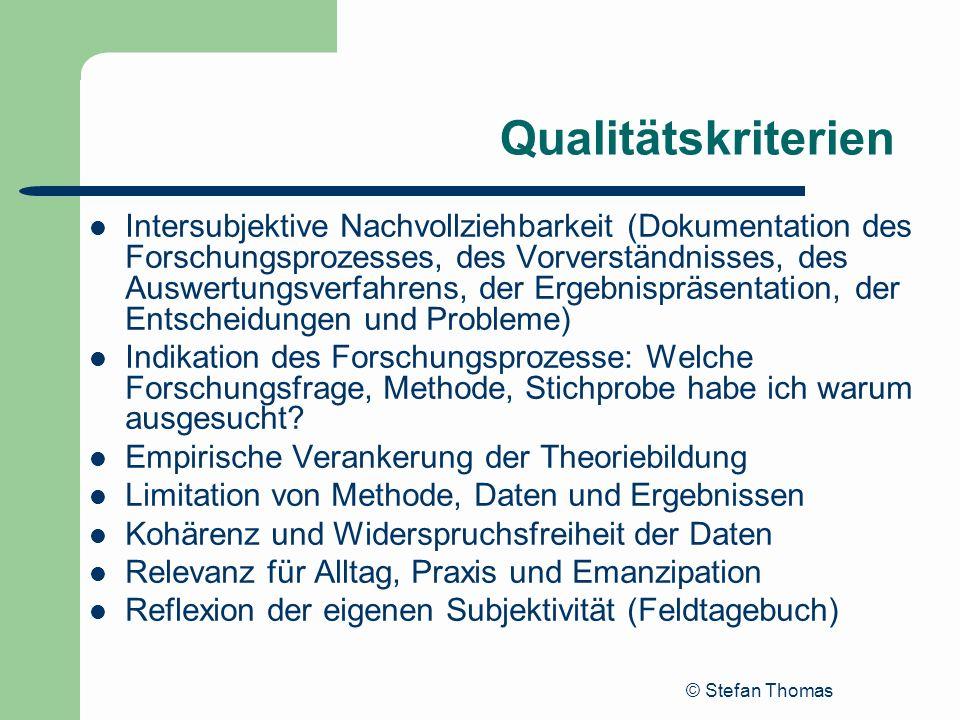 © Stefan Thomas Qualitätskriterien Intersubjektive Nachvollziehbarkeit (Dokumentation des Forschungsprozesses, des Vorverständnisses, des Auswertungsv