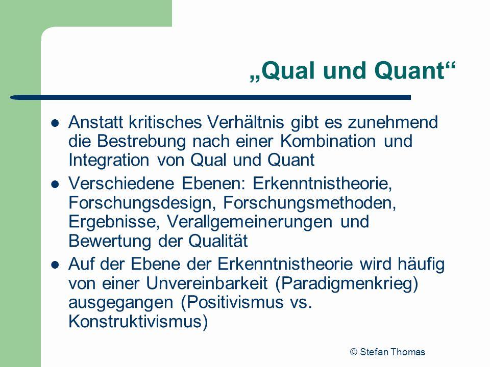 © Stefan Thomas Qual und Quant Anstatt kritisches Verhältnis gibt es zunehmend die Bestrebung nach einer Kombination und Integration von Qual und Quan