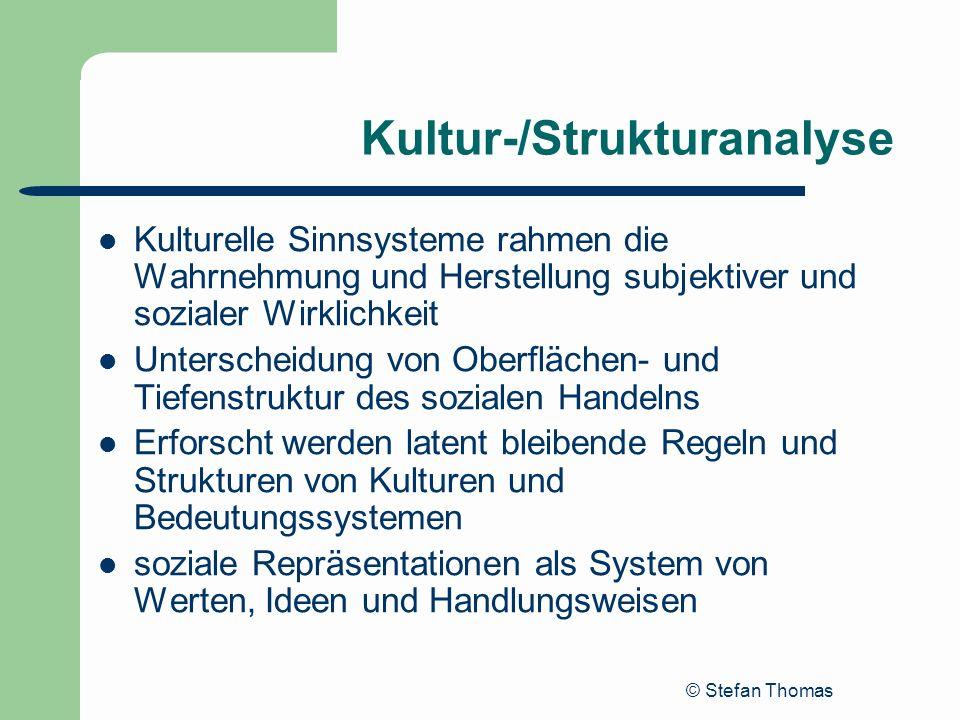 © Stefan Thomas Kultur-/Strukturanalyse Kulturelle Sinnsysteme rahmen die Wahrnehmung und Herstellung subjektiver und sozialer Wirklichkeit Unterschei