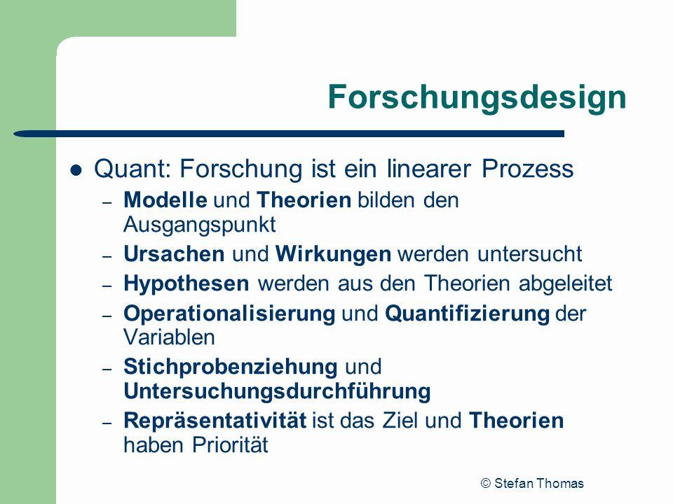 © Stefan Thomas Forschungsdesign Quant: Forschung ist ein linearer Prozess – Modelle und Theorien bilden den Ausgangspunkt – Ursachen und Wirkungen we