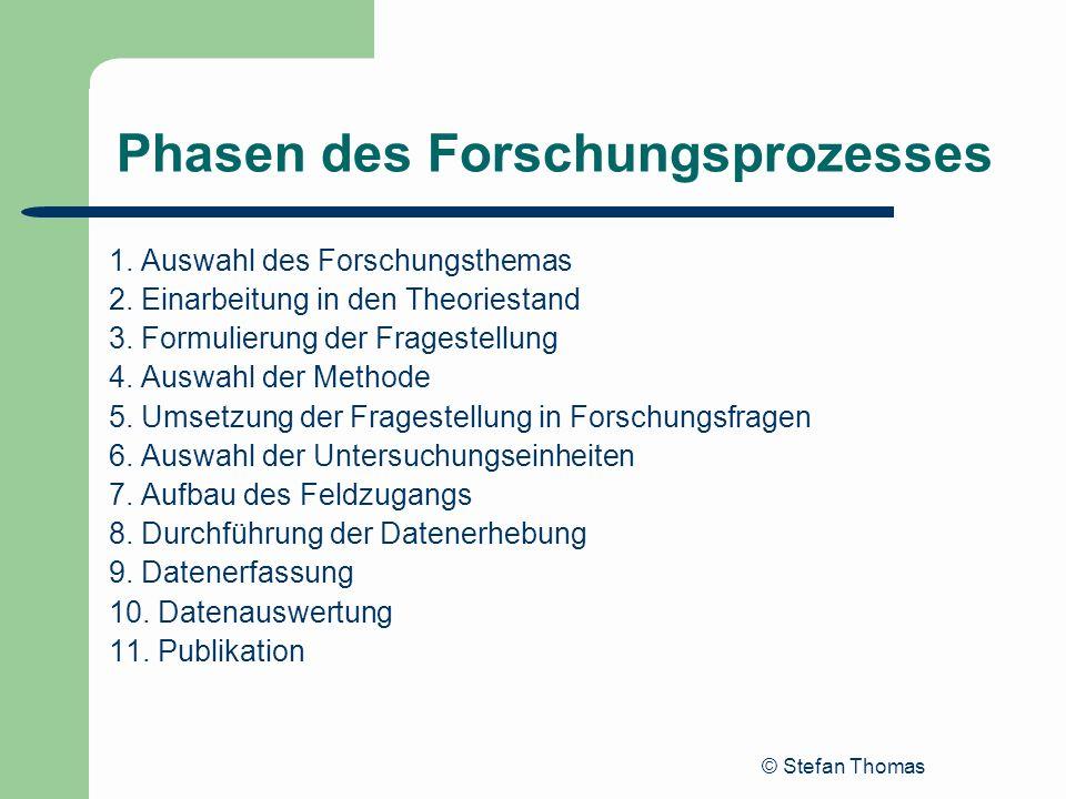 © Stefan Thomas Phasen des Forschungsprozesses 1. Auswahl des Forschungsthemas 2. Einarbeitung in den Theoriestand 3. Formulierung der Fragestellung 4