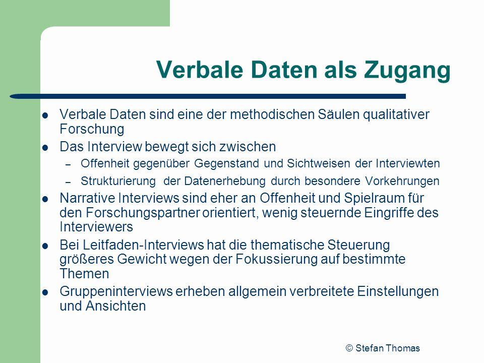 © Stefan Thomas Verbale Daten als Zugang Verbale Daten sind eine der methodischen Säulen qualitativer Forschung Das Interview bewegt sich zwischen – O
