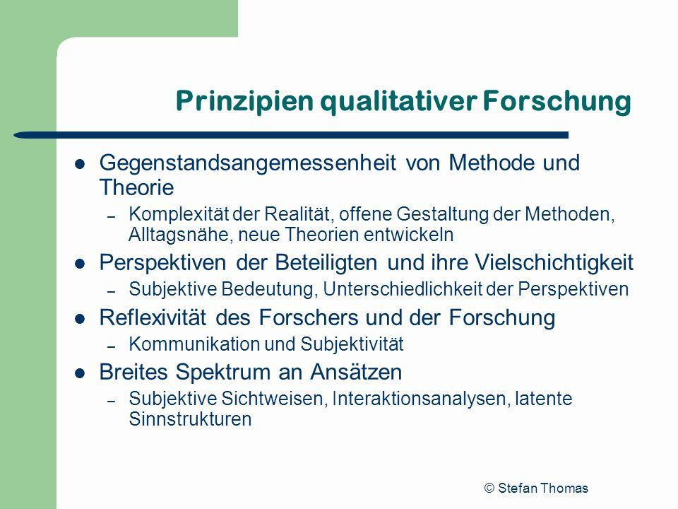 © Stefan Thomas Prinzipien qualitativer Forschung Gegenstandsangemessenheit von Methode und Theorie – Komplexität der Realität, offene Gestaltung der