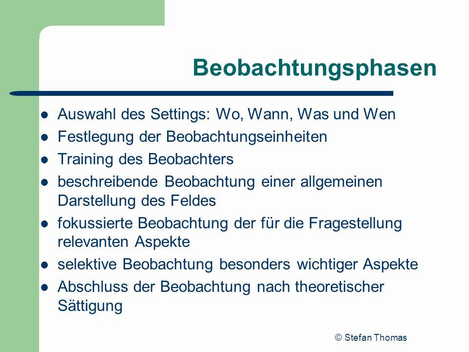 © Stefan Thomas Beobachtungsphasen Auswahl des Settings: Wo, Wann, Was und Wen Festlegung der Beobachtungseinheiten Training des Beobachters beschreib