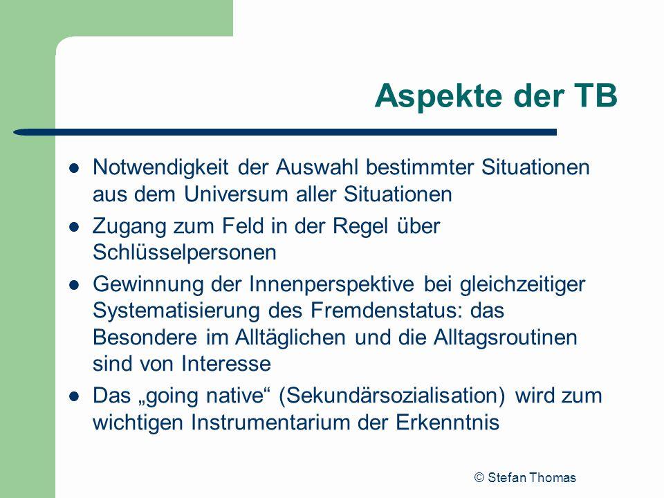 © Stefan Thomas Aspekte der TB Notwendigkeit der Auswahl bestimmter Situationen aus dem Universum aller Situationen Zugang zum Feld in der Regel über