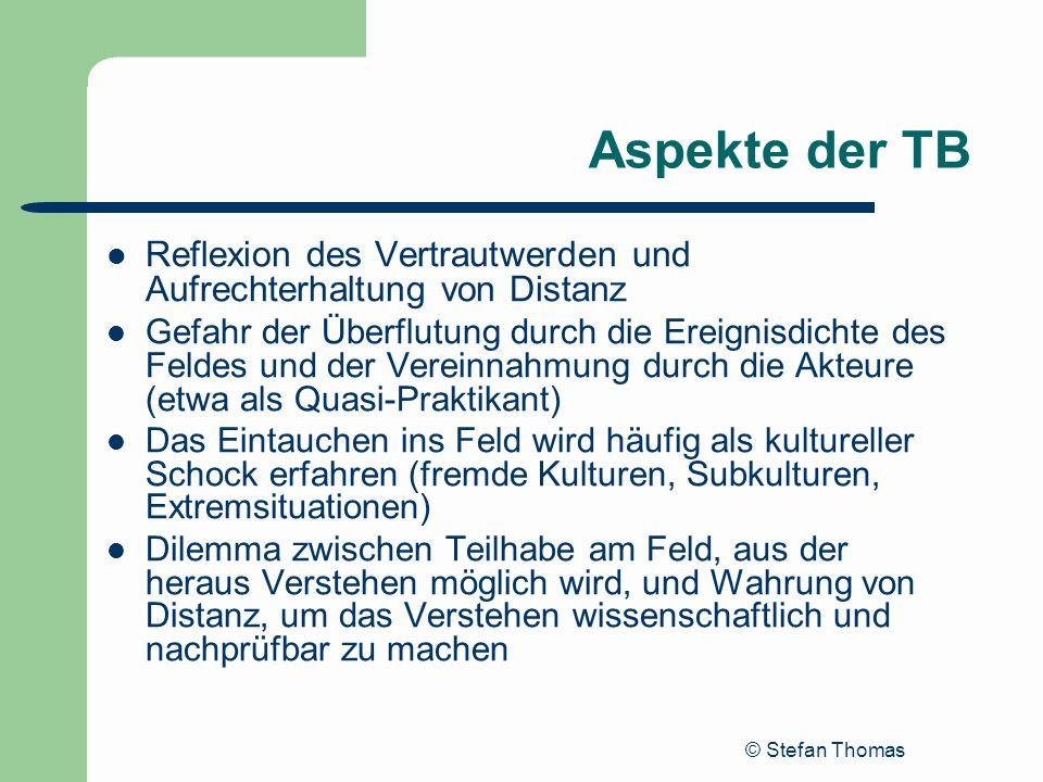 © Stefan Thomas Aspekte der TB Reflexion des Vertrautwerden und Aufrechterhaltung von Distanz Gefahr der Überflutung durch die Ereignisdichte des Feld
