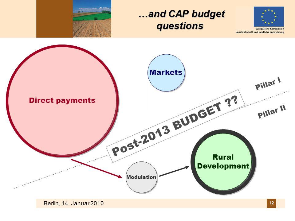 Berlin, 14. Januar 2010 12 Rural Development Direct payments Markets Pillar I Pillar II Post-2013 BUDGET ?? …and CAP budget questions …and CAP budget