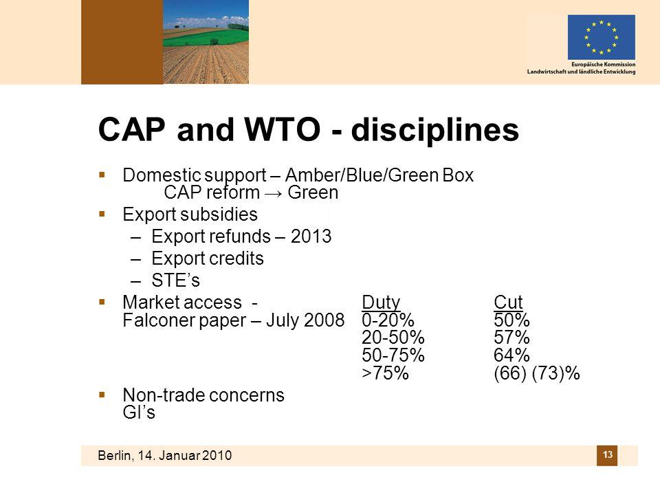 Berlin, 14. Januar 2010 13 CAP and WTO - disciplines Domestic support – Amber/Blue/Green Box CAP reform Green Export subsidies –Export refunds – 2013
