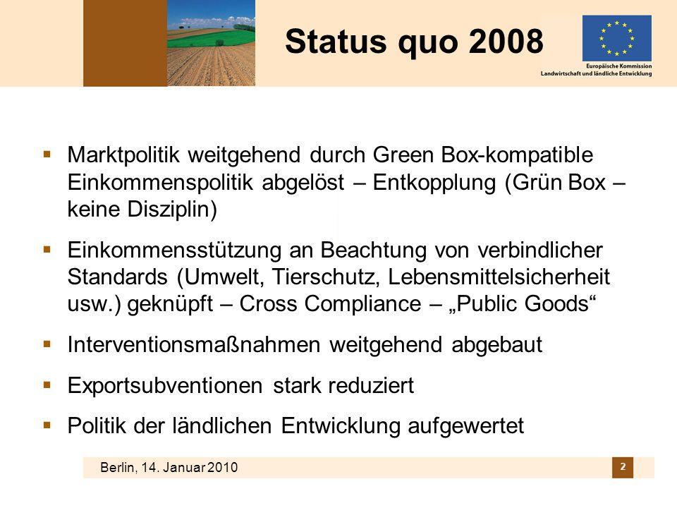 Berlin, 14. Januar 2010 2 Status quo 2008 Marktpolitik weitgehend durch Green Box-kompatible Einkommenspolitik abgelöst – Entkopplung (Grün Box – kein