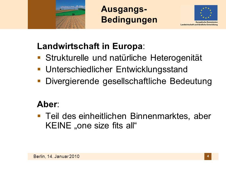 Berlin, 14. Januar 2010 4 Ausgangs- Bedingungen Landwirtschaft in Europa: Strukturelle und natürliche Heterogenität Unterschiedlicher Entwicklungsstan