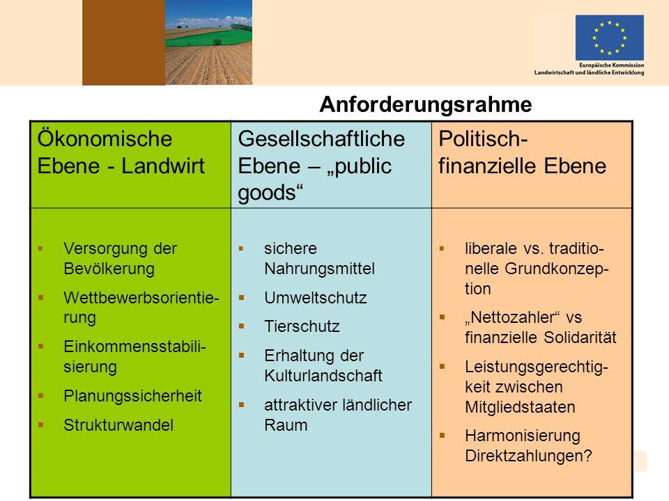 Berlin, 14. Januar 2010 5 Anforderungsrahme n Ökonomische Ebene - Landwirt Gesellschaftliche Ebene – public goods Politisch- finanzielle Ebene Versorg