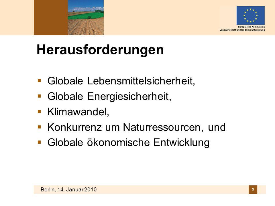 Berlin, 14. Januar 2010 9 Herausforderungen Globale Lebensmittelsicherheit, Globale Energiesicherheit, Klimawandel, Konkurrenz um Naturressourcen, und