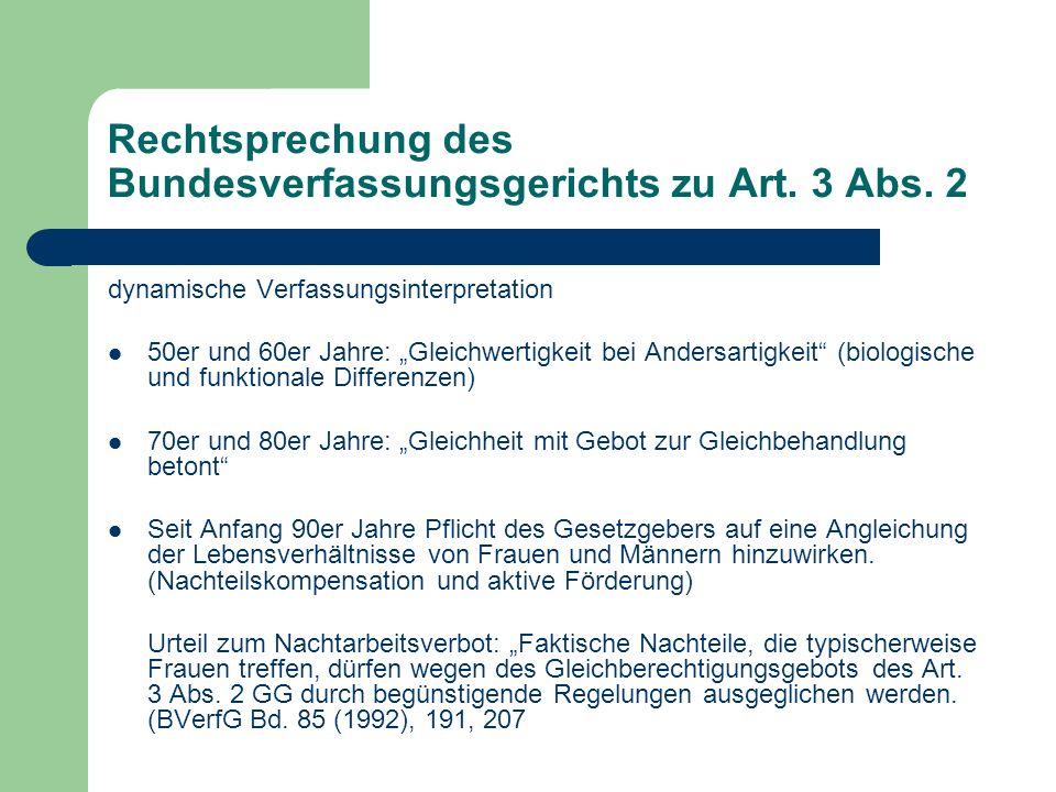 Rechtsprechung des Bundesverfassungsgerichts zu Art. 3 Abs. 2 dynamische Verfassungsinterpretation 50er und 60er Jahre: Gleichwertigkeit bei Andersart