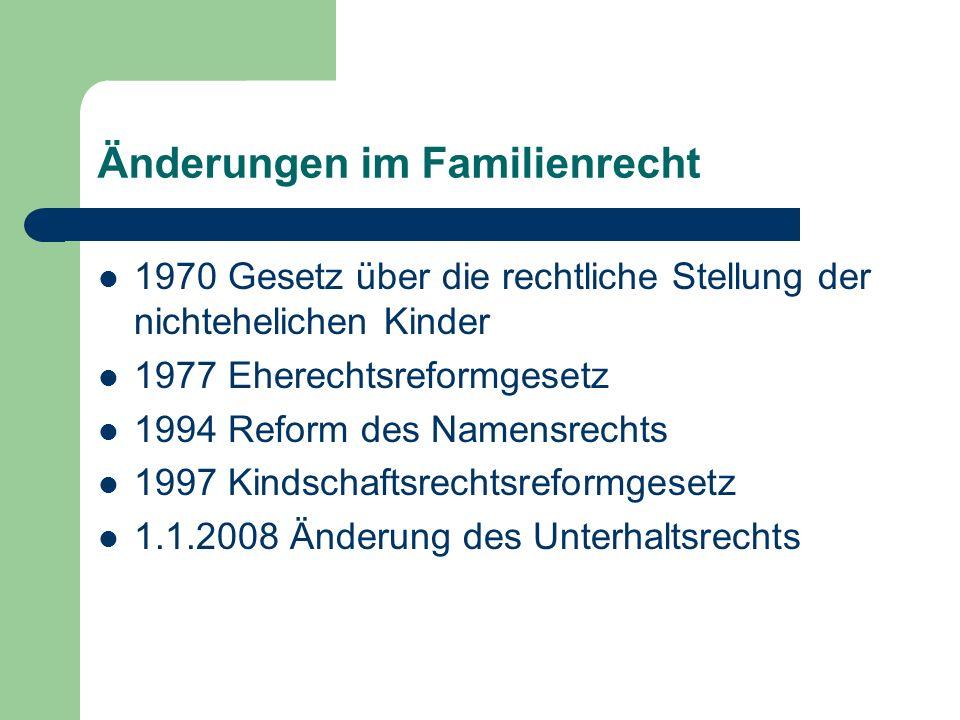 Änderungen im Familienrecht 1970 Gesetz über die rechtliche Stellung der nichtehelichen Kinder 1977 Eherechtsreformgesetz 1994 Reform des Namensrechts