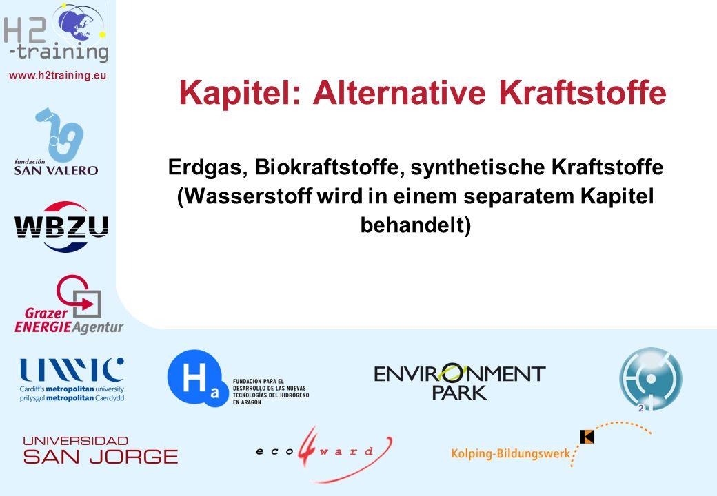 www.h2training.eu Synthetische Kraftstoffe Produktion und Gewinnung (2) Die verschiedenen Kraftstofftypen hängen von den Ausgangsstoffen und den Herstellungsverfahren ab (entsprechend benannt): BTG (Biomass To Gas) – Biomasse zu Gas (gasförmiger Kraftstoff aus Biomasse).