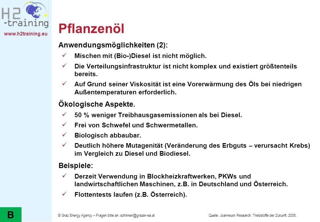 www.h2training.eu Pflanzenöl Anwendungsmöglichkeiten (2): Mischen mit (Bio-)Diesel ist nicht möglich. Die Verteilungsinfrastruktur ist nicht komplex u