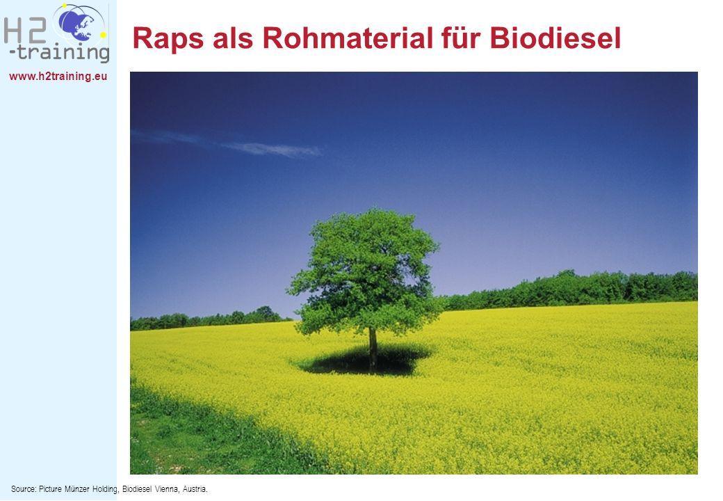 www.h2training.eu Raps als Rohmaterial für Biodiesel Source: Picture Münzer Holding, Biodiesel Vienna, Austria.