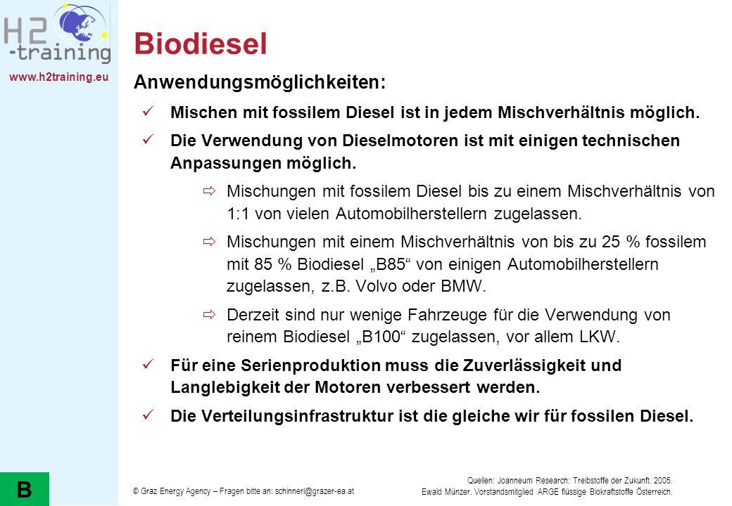 www.h2training.eu Biodiesel Anwendungsmöglichkeiten: Mischen mit fossilem Diesel ist in jedem Mischverhältnis möglich. Die Verwendung von Dieselmotore