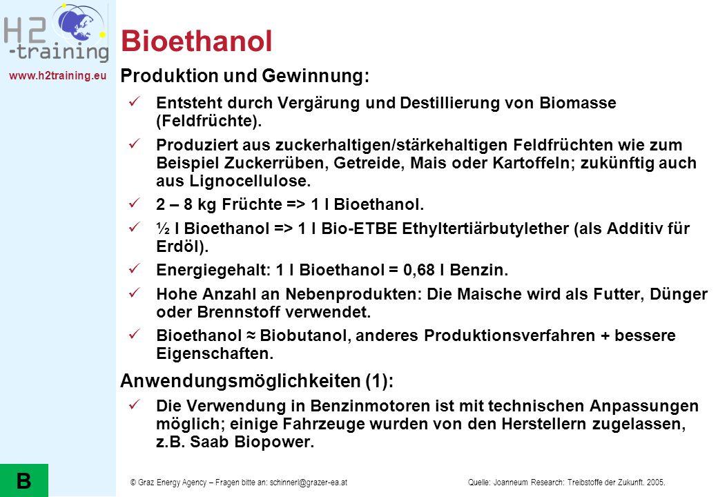 www.h2training.eu Bioethanol Produktion und Gewinnung: Entsteht durch Vergärung und Destillierung von Biomasse (Feldfrüchte). Produziert aus zuckerhal