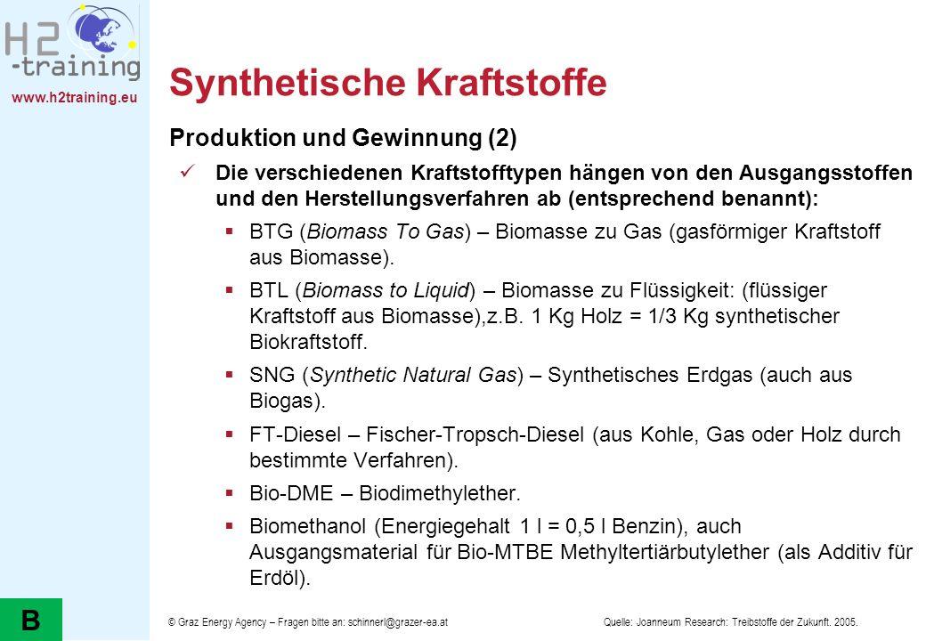 www.h2training.eu Synthetische Kraftstoffe Produktion und Gewinnung (2) Die verschiedenen Kraftstofftypen hängen von den Ausgangsstoffen und den Herst