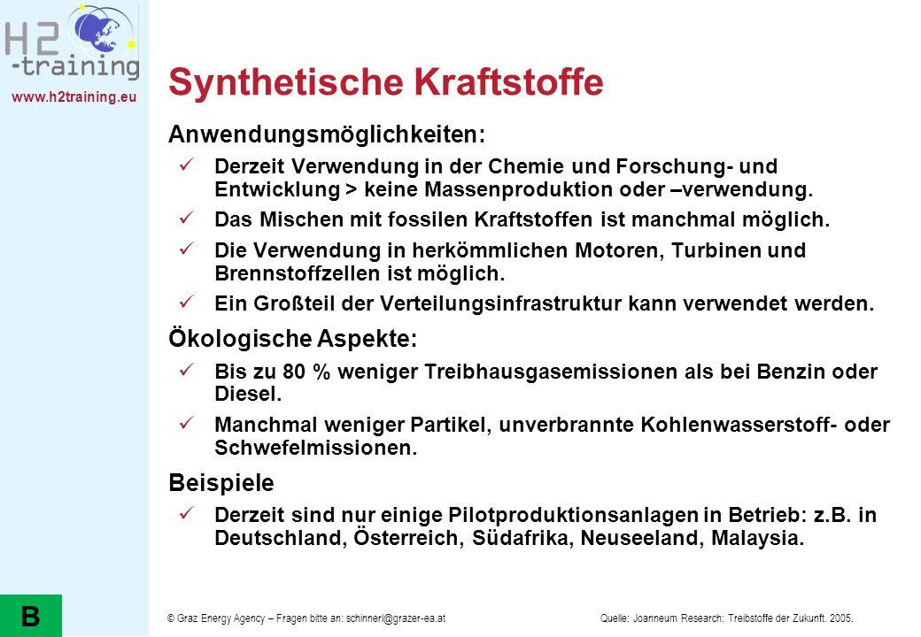 www.h2training.eu Synthetische Kraftstoffe Anwendungsmöglichkeiten: Derzeit Verwendung in der Chemie und Forschung- und Entwicklung > keine Massenprod