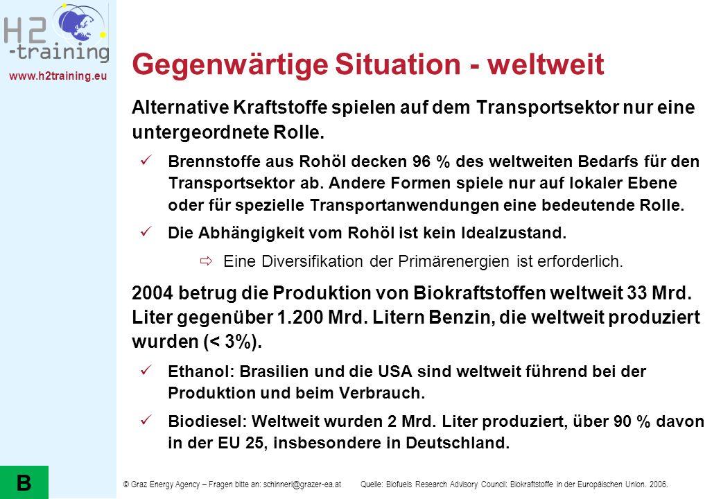 www.h2training.eu Gegenwärtige Situation - weltweit Alternative Kraftstoffe spielen auf dem Transportsektor nur eine untergeordnete Rolle. Brennstoffe