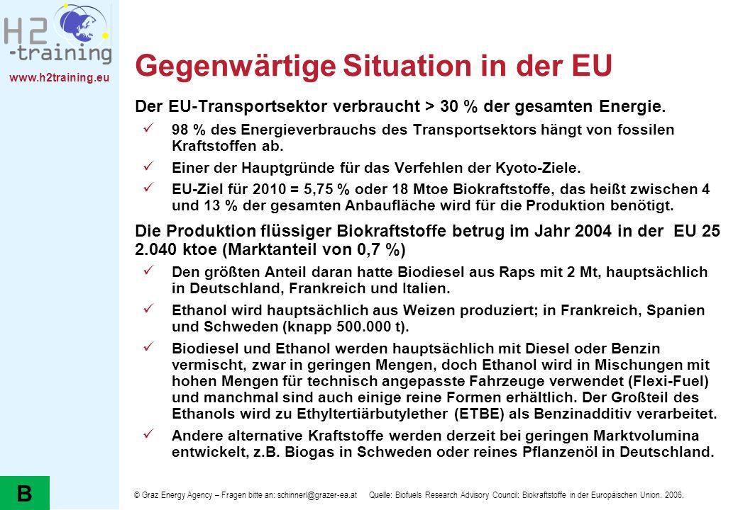 www.h2training.eu Gegenwärtige Situation in der EU Der EU-Transportsektor verbraucht > 30 % der gesamten Energie. 98 % des Energieverbrauchs des Trans
