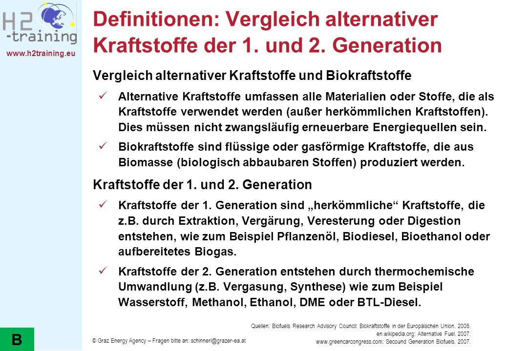 www.h2training.eu Definitionen: Vergleich alternativer Kraftstoffe der 1. und 2. Generation Vergleich alternativer Kraftstoffe und Biokraftstoffe Alte