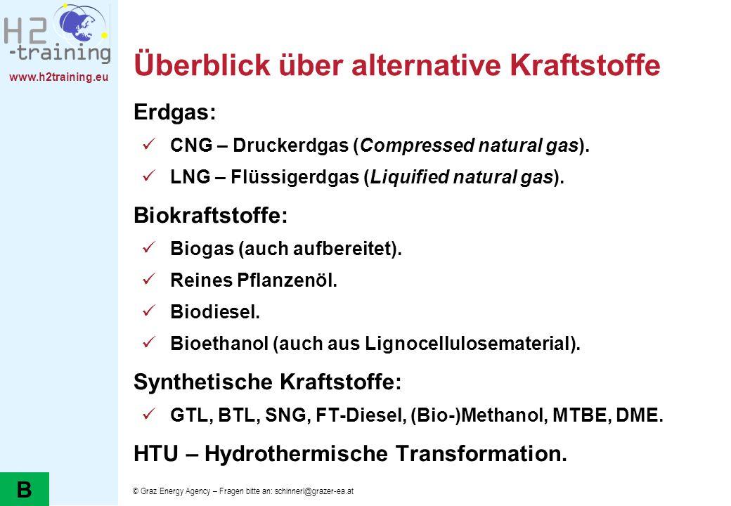 www.h2training.eu Überblick über alternative Kraftstoffe Erdgas: CNG – Druckerdgas (Compressed natural gas). LNG – Flüssigerdgas (Liquified natural ga