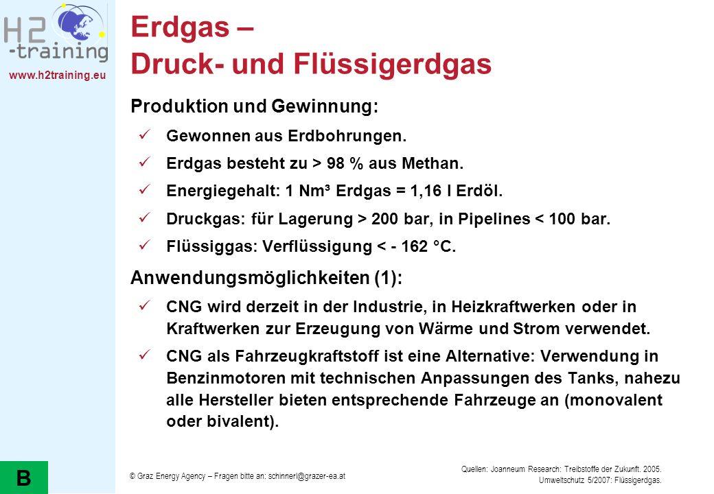www.h2training.eu Erdgas – Druck- und Flüssigerdgas Produktion und Gewinnung: Gewonnen aus Erdbohrungen. Erdgas besteht zu > 98 % aus Methan. Energieg