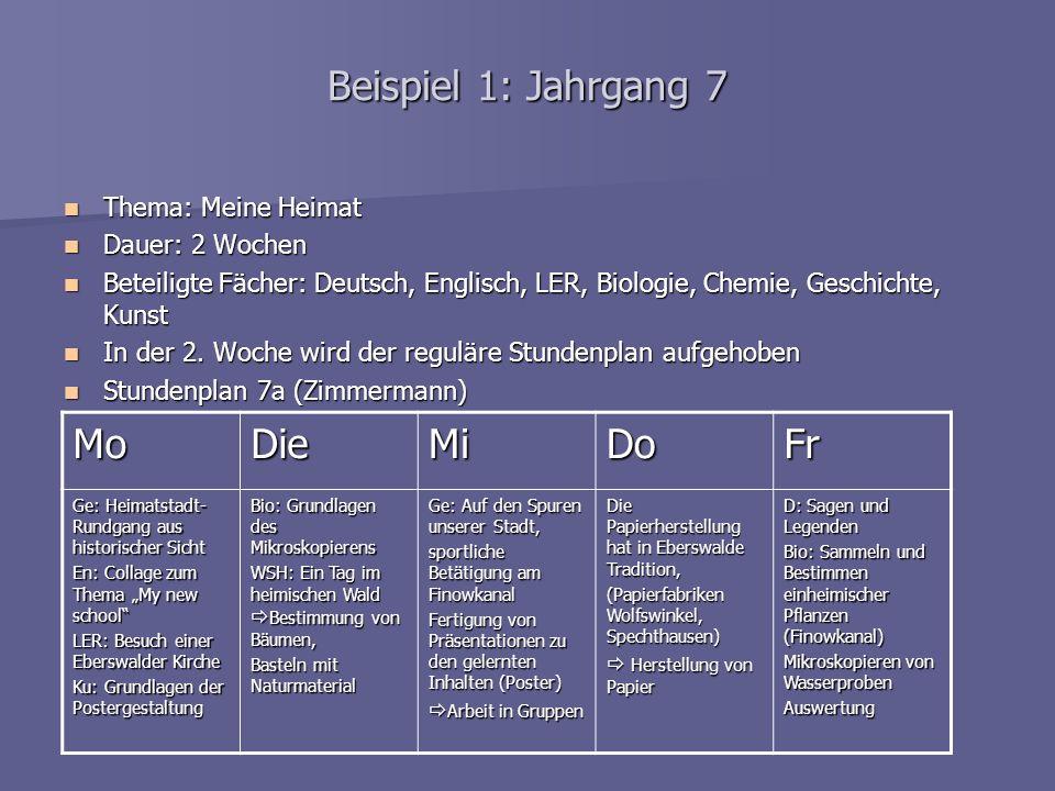 Beispiel 1: Jahrgang 7 Thema: Meine Heimat Thema: Meine Heimat Dauer: 2 Wochen Dauer: 2 Wochen Beteiligte Fächer: Deutsch, Englisch, LER, Biologie, Ch
