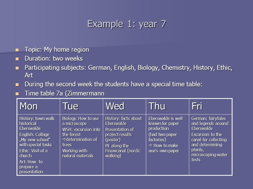 Example 1: year 7 Topic: My home region Topic: My home region Duration: two weeks Duration: two weeks Participating subjects: German, English, Biology