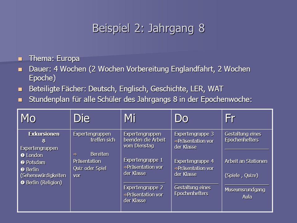 Beispiel 2: Jahrgang 8 Thema: Europa Thema: Europa Dauer: 4 Wochen (2 Wochen Vorbereitung Englandfahrt, 2 Wochen Epoche) Dauer: 4 Wochen (2 Wochen Vor