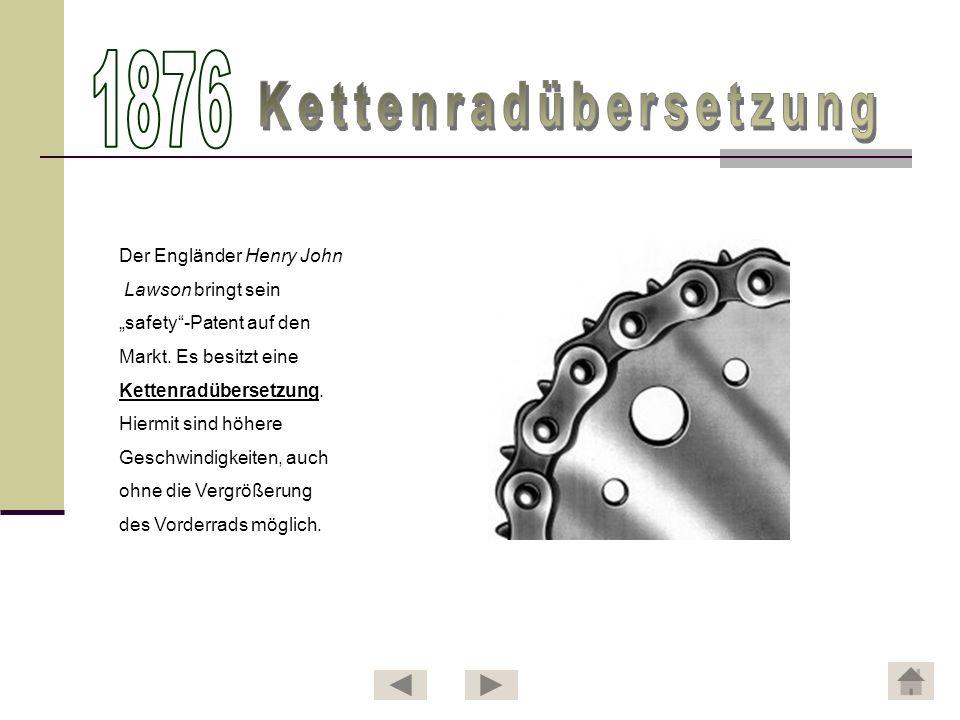 Bekanntester Vertreter dieser Bauform war das von John Kemp Starley seit 1884 angebotene Rover Safety Bicycle .