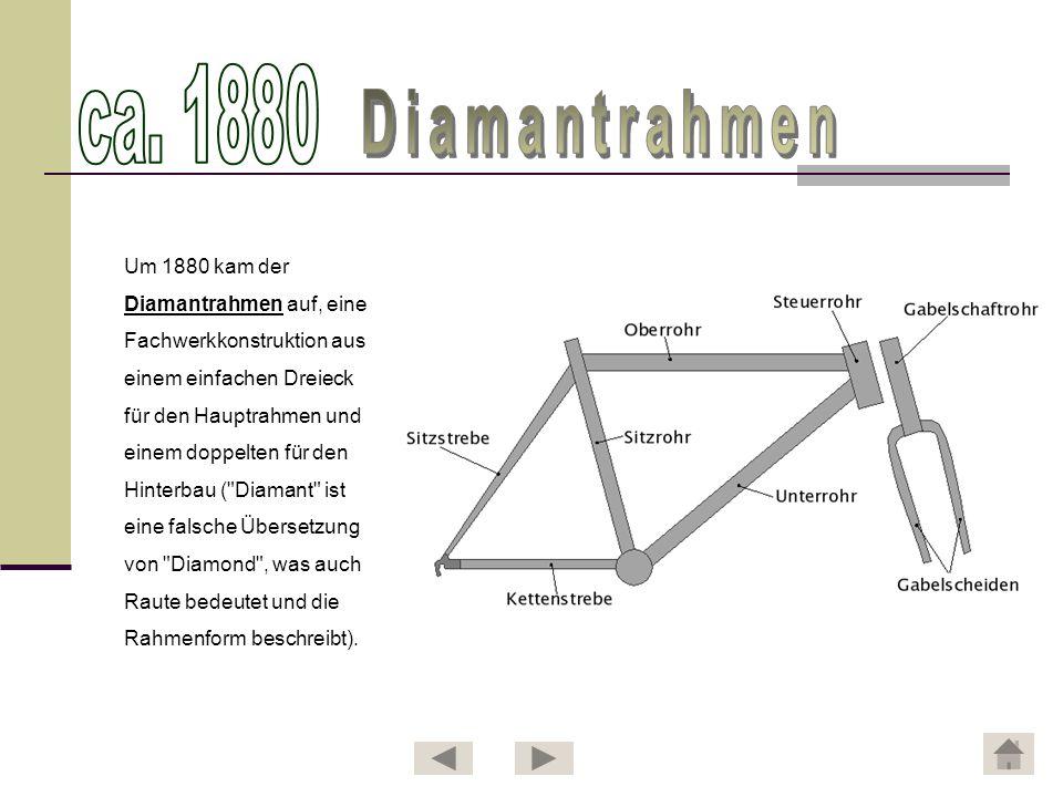 Um 1880 kam der Diamantrahmen auf, eine Fachwerkkonstruktion aus einem einfachen Dreieck für den Hauptrahmen und einem doppelten für den Hinterbau (