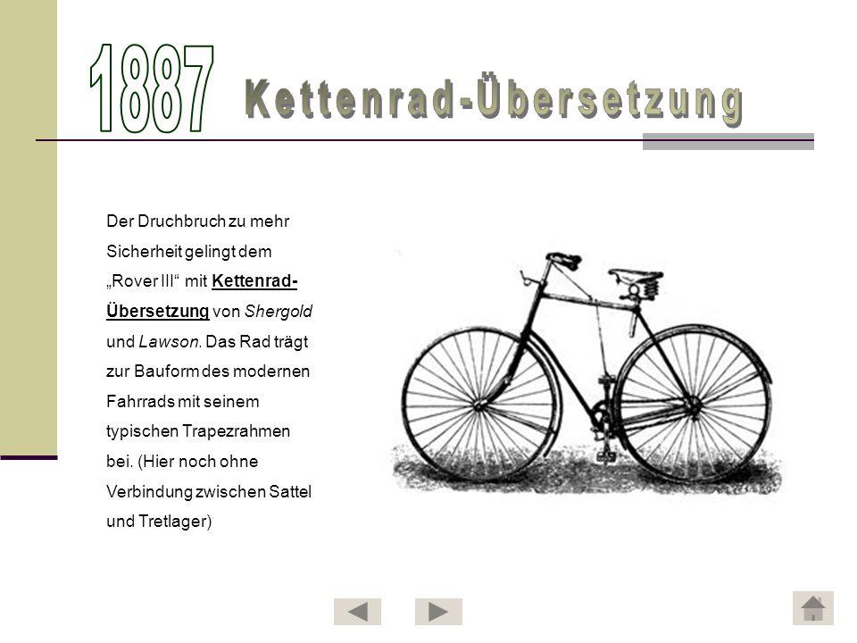 Der schottische Tierarzt John Boyd Dunlop entwickelt den ersten luftgefüllten Fahrradreifen.