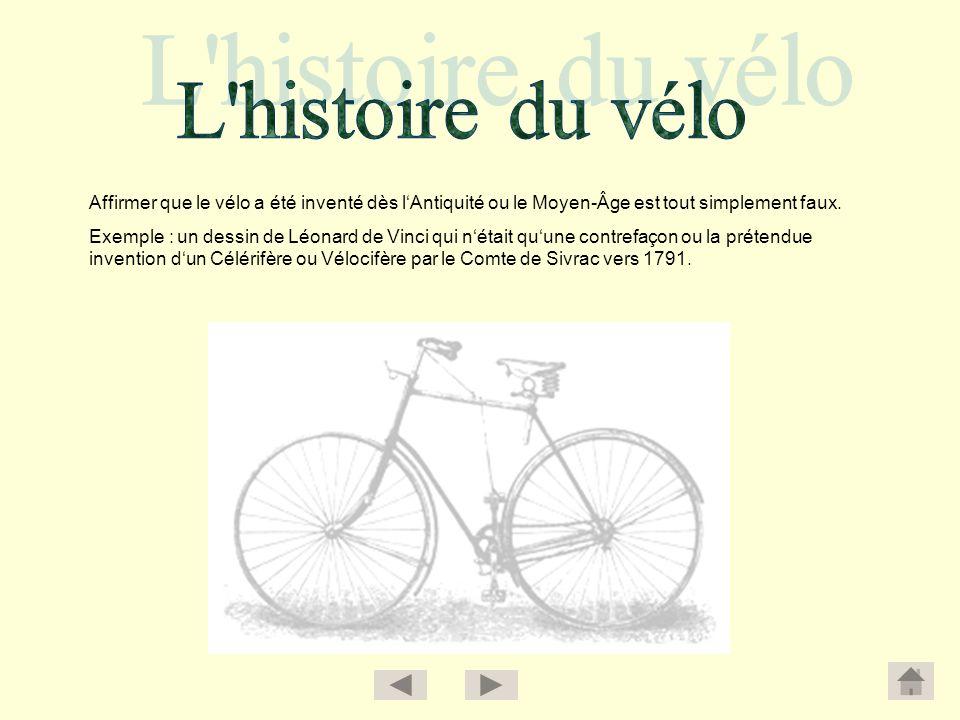 Affirmer que le vélo a été inventé dès lAntiquité ou le Moyen-Âge est tout simplement faux. Exemple : un dessin de Léonard de Vinci qui nétait quune c