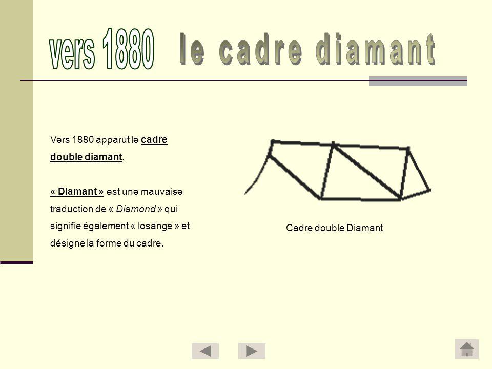 Vers 1880 apparut le cadre double diamant. « Diamant » est une mauvaise traduction de « Diamond » qui signifie également « losange » et désigne la for